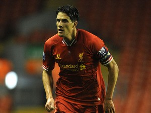 Martin Kelly of Liverpool U21 in action during the Barclays U21s Premier League match between Liverpool U21 and Sunderland U21 at Anfield on September 17, 2013