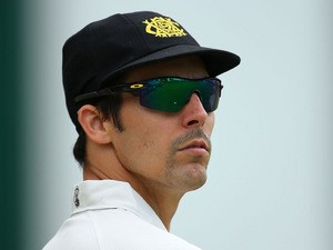 Mitchell Johnson of the Warriors looks on during day one of the Sheffield Shield match between the Western Australia Warriors and the South Australia Redbacks at the WACA on November 6, 2013