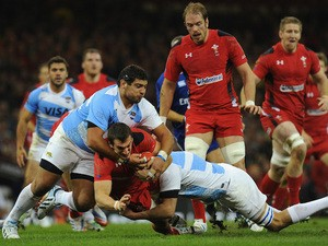 Wales captain Sam Warburton runs into the Argentina defence during the International Match between Wales and Argentina at the Millennium Stadium on November 16, 2013