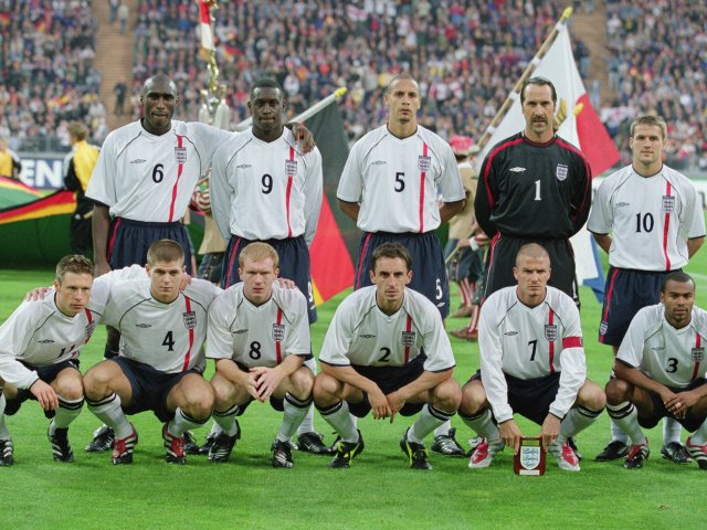 The England team pose for a photograph before their match with Germany on September 08, 2001.