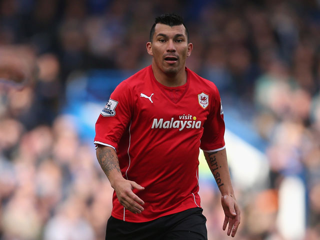 Gary Medel of Cardiff in action during the Barclays Premier League match between Chelsea and Cardiff City at Stamford Bridge on October 19, 2013