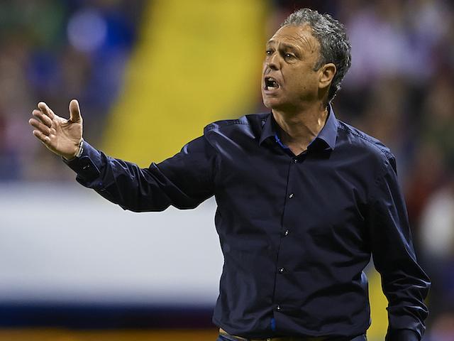 Head Coach of Levante UD Joaquin Caparros reacts during the La Liga match between Levante UD and Granada CF at Ciutat de Valencia Stadium on November 03, 2013