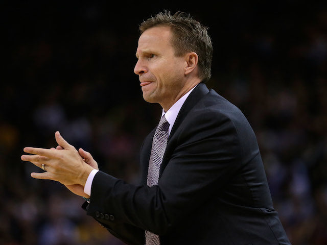 Head coach Scott Brooks of the Oklahoma City Thunder stands on the side of the court during their game against the Golden State Warriors at ORACLE Arena on November 14, 2013