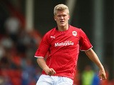 Cardiff's Andreas Cornelius in action against Cheltenham during a friendly match on July 27, 2013