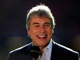 TV presenter John Inverdale shares a joke before the RBS Six Nations match between Wales and Italy at the Millennium stadium on March 10, 2012