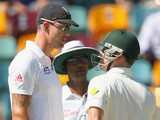 Kevin Pietersen of England and Brad Haddin of Australia exchange words during day one of the First Ashes Test match between Australia and England at The Gabba on November 21, 2013