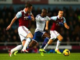 Ramires of Chelsea and Kevin Nolan of West Ham compete for the ball during the Barclays Premier League match on November 23, 2013