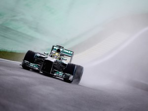 Nico Rosberg of Germany and Mercedes GP drives during practice for the Brazilian Formula One Grand Prix at Autodromo Jose Carlos Pace on November 22, 2013