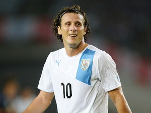 Diego Forlan of Uruguay smiles during the international friendly match between Japan and Uruguay at Miyagi Stadium on August 14, 2013