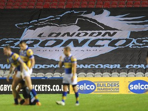 London Broncos advertising on the seats during the Super League match between London Broncos and Leeds Rhinos at Twickenham Stoop on August 01, 2013