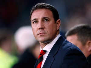 Cardiff manager Malky Mackay prior to kick-off in the match against Manchester United on November 24, 2013