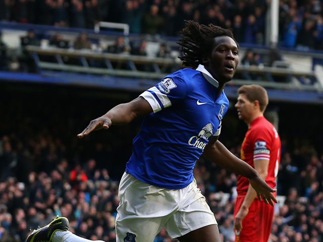 Romelu Lukaku of Everton celebrates scoring his team's second goal during the Barclays Premier League match between Everton and Liverpool at Goodison Park on November 23, 2013