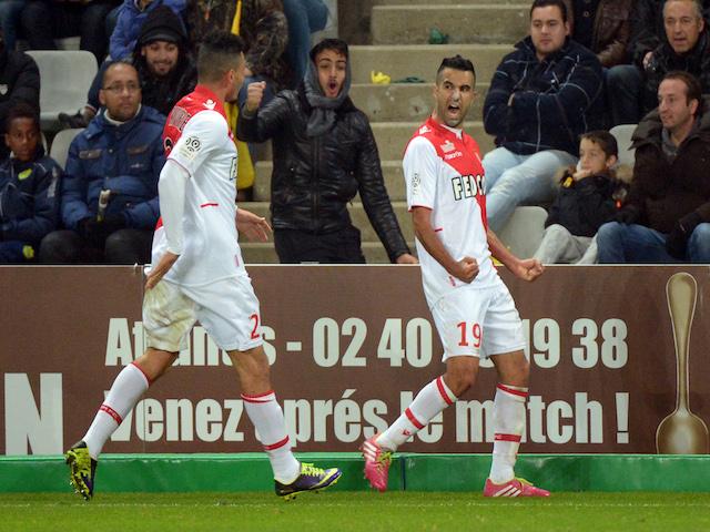 Monaco's Moroccan midfielder Mounir Obbadi celebrates after scoring a goal during the French L1 football match Nantes against Monaco on November 24, 2013