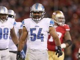 DeAndre Levy #54 of the Detroit Lions reacts after making a tackled against the San Francisco 49ers at Candlestick Park on September 16, 2012