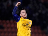 Goal scorer Joe Garner of Preston celebrates at the final whistle during the Sky Bet League One match between Leyton Orient and Preston North End at The Matchroom Stadium on November 16, 2013