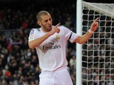 Karim Benzema of Real Madrid CF celebrates after scoring Real's 2nd goal during the La Liga match against Real Valladolid CF on November 30, 2013
