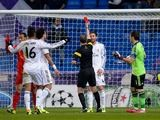 Real Madrid's Sergio Ramos is sent off against Galatasaray during their Champions League group match on November 27, 2013