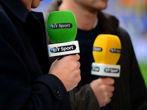 A detailed view of the BT Sport commentator's microphones as they speak pitchside ahead of the Barclays Premier League Match between Tottenham Hotspur and Manchester United at White Hart Lane on December 1, 2013