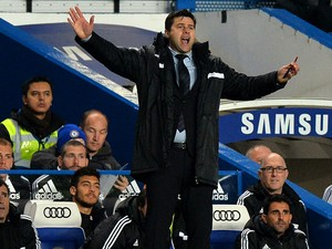 Southampton's Argentinian manager Mauricio Pochettino reacts during the English Premier League football match between Chelsea and Southampton at Stamford Bridge in London on December 1, 2013