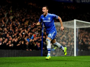 John Terry of Chelsea celebrates as he scores their second goal with a header during the Barclays Premier League match between Chelsea and Southampton at Stamford Bridge on December 1, 2013