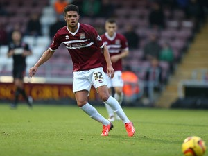 Kane Ferdinand of Northampton Town in action during the Sky Bet League Two match between Northampton Town and Fleetwood Town at Sixfields Stadium on November 16, 2013