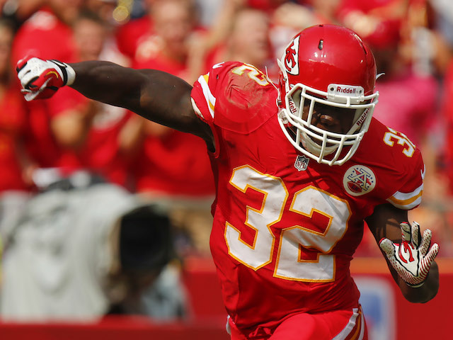 Cyrus Gray of the Kansas City Chiefs celebrate after successfully downing the punt within the Dallas Cowboys five yard line in the fourth quarter on September 15, 2013