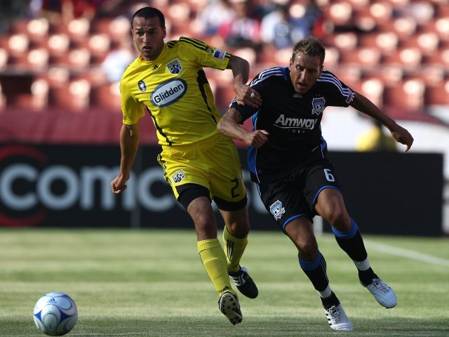 Darren Huckerby in action for the San Jose Earthquakes on August 08, 2009.