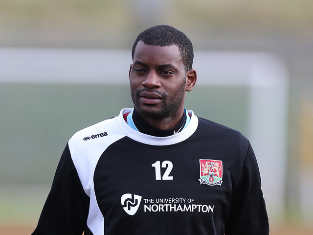 Northampton Town new signing Izale McLeod looks on during a training session at Sixfields Stadium on November 29, 2013