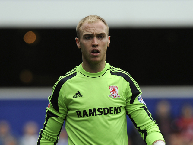 Middlesbrough goalkeeper Jason Steele during the Sky Bet Championship match between Queens Park Rangers and Middlesbrough at Loftus Road on September 28, 2013