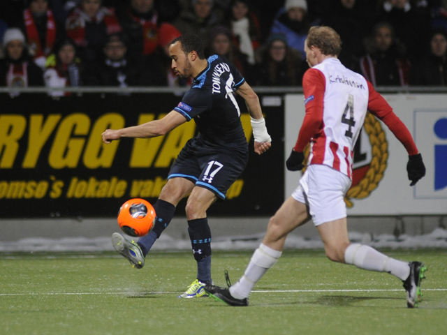 Tottenham's Andros Townsend during the UEFA Europa League Group K football match Tromso IL vs Tottenham Hotspur FC in Tromso, on November 28, 2013