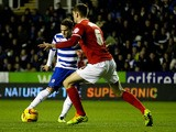 Billy Sharp of Reading scores the opening goal of the game during the Sky Bet Championship match between Reading and Charlton Athletic at Madejski Stadium on December 3, 2013