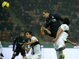 Inter Milan's Argentinian forward Rodrigo Sebastian Palacio scores during the Italian Serie A football match Inter Milan vs Parma on December 8, 2013