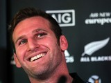 New Zealand rugby union player Kieran Read addresses a press conference following a training session in Dublin, Ireland, on November 20, 2013. The All Blacks will attempt to become the first major international side of rugby union's professional era to wi