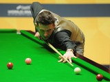 Mark Selby in action during his first round match against Matthew Selt during the Betfair World Snooker Championship at the Crucible Theatre on April 24, 2013