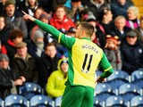 Gary Hooper of Norwich celebrates scoring during the Barclays Premier League match between West Bromwich Albion and Norwich City at The Hawthorns on December 07, 2013