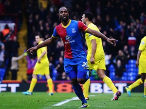 Cameron Jerome of Crystal Palace celebrates scoring during the Barclays Premier League match between Crystal Palace and Cardiff City at Selhurst Park on December 07, 2013