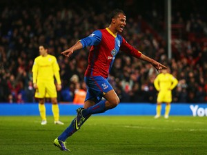 Marouane Chamakh of Crystal Palace celebrates after scoring during the Barclays Premier League match between Crystal Palace and Cardiff City at Selhurst Park on December 07, 2013