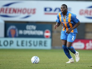 Jermaine Grandison of Shrewsbury Town in action during the npower League Two match between Shrewsbury Town and Northampton Town at the Greenhous Meadow on January 2, 2012