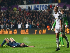 Swansea's Jonjo Shelvey celebrates after scoring his team's second goal against Newcastle during their Premier League match on December 4, 2013