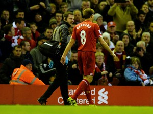 Liverpool's English midfielder Steven Gerrard is substituted during the English Premier League football match between Liverpool and West Ham United at Anfield in Liverpool on December 7, 2013