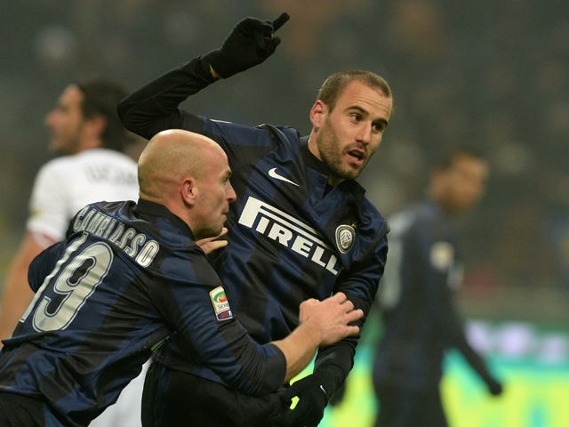 Rodrigo Palacio of FC Inter Milan celebrates scoring the second goal during the Serie A match between FC Internazionale Milano and Parma FC at Stadio Giuseppe Meazza on December 8, 2013
