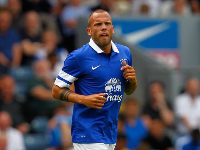 Heitinga of Everton in action during the Pre Season Friendly match between Blackburn Rovers and Everton FC at Ewood Park on July 27, 2013