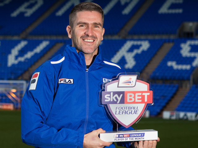 Tranmere Rovers' Ryan Lowe with his November Player of the Month on December 5, 2013