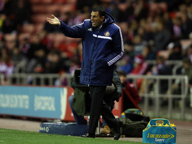 Manager of Sunderland Gus Poyet gestures during the Barclays Premier League match between Sunderland and Tottenham Hotspur at the Stadium of Light on December 7, 2013