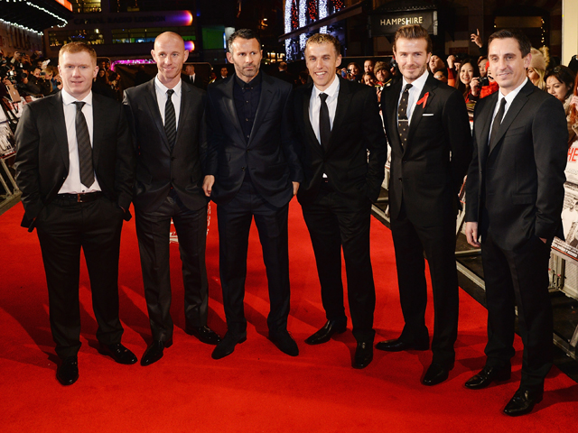 Paul Scholes, Nicky Butt, Ryan Giggs, Phil Neville, David Beckham and Gary Neville attend the World premiere of 'The Class of 92' at Odeon West End on December 1, 2013