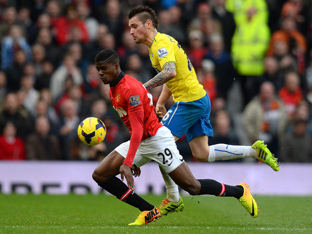 Wilfried Zaha of Manchester United in action during the Barclays Premier League match between Manchester United and Newcastle United at Old Trafford on December 7, 2013