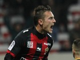 Nice's French mildfielder Eric Bautheac celebrates after scoring during the French L1 football match Nice (OGCN) vs Sochaux (FCSM), on December 14, 2013