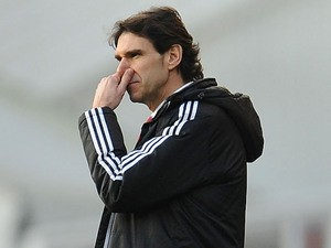 Manager of Middlesbrough Aitor Karanka looks on during the Sky Bet Championship match between Birmingham City and Middlesbrough at St Andrews Stadium on December 7, 2013