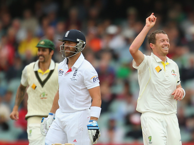 Peter Siddle of Australia celebrates after dismissing Matt Prior of England during day five of Second Ashes Test Match between Australia and England at Adelaide Oval on December 9, 2013