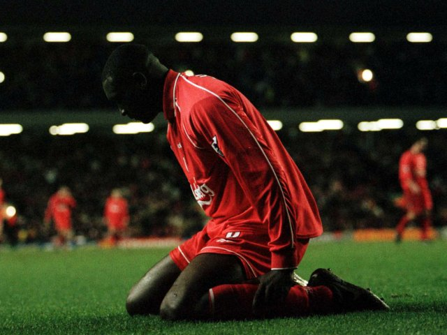 Liverpool striker Emile Heskey reacts to missing a chance against Ipswich Town on December 10, 2000.